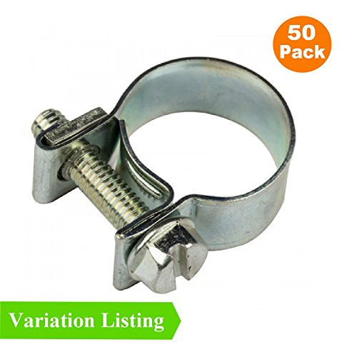 50 x Mini Fuel Line Jubilee Hose Clips Clamps Diesel Petrol Pipe Coolant Radiator [ 10 - 12mm ] by Smarthome