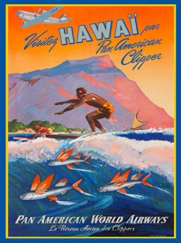 A SLICE IN TIME Fly to Hawaii By Clipper Pan American World Airways Diamond Head Oahu Vintage Travel Advertisement Art Collectible Wall Decor Poster. Poster measures 10 x 13.5 inches