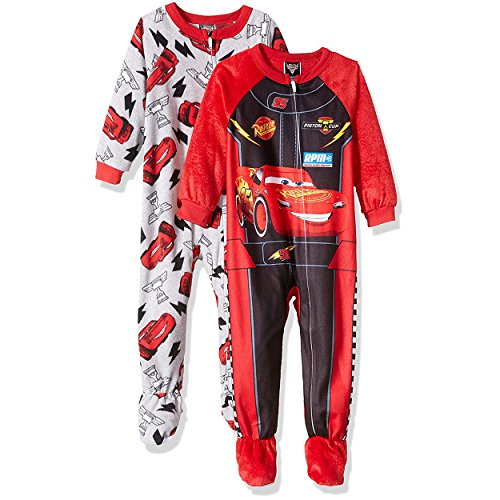 Disney Cars Lightning McQueen Boys Blanket Sleeper Pajama 2 Pack Set (2T, Red/Grey) Graphic Knit Blanket
