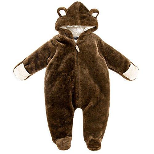 BOZEVON 0-3 meses Bebé Unisexo Traje de Nieve Traje de animales Mameluco con Capucha Monos para Niños Niñas Ropa de una pieza Invierno Peleles Jumpsuit Ropa de abrigo baby mameluco , marrón