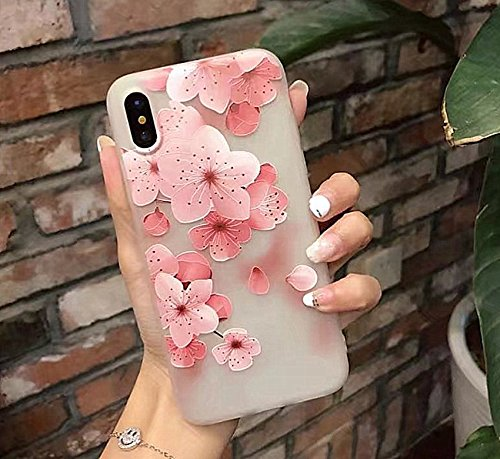 Beautiful Flower Pattern - iPhone X Soft Case,LuoMing 3D Emboss Beautiful Flower Pattern Slim fit Shock-Absorbing Soft Rubber Clear TPU Skin Cover Case for iPhone X 5.8inch(2017) (Cherry Blossom)