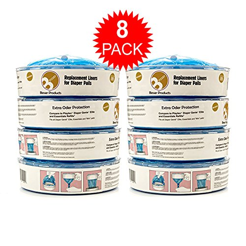 Amazon.com: Diaper Genie Refill Bags - 1120 Count, Up to 6 Month Supply of Diaper Pail Liners - By Besser Products inc (4 Pack): Baby