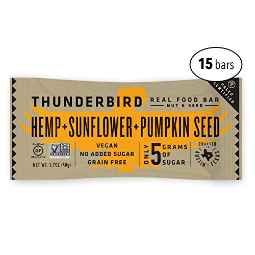 - Thunderbird Paleo and Vegan Real Food Energy Bars - Hemp Sunflower Pumpkin Seed - Box of 15 - No Added Sugar, Grain and Gluten Free, Whole 30, Non-GMO