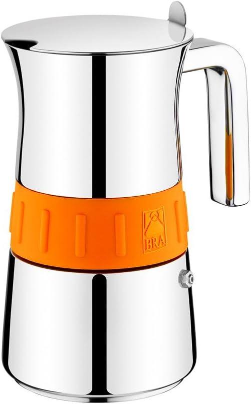 BRA CAFETERA Elegance Colors Italiana, Acero Inoxidable, Gris y Naranja, 6 Tazas: Amazon.es: Hogar