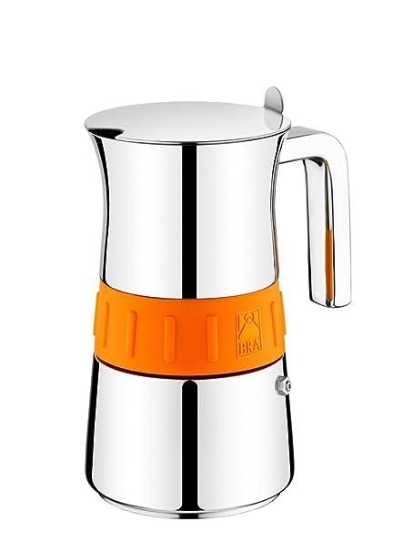 BRA Cafetera Italiana 170563 Elegance Orange 4, Acero Inoxidable, Gris y Naranja, 4 Tazas