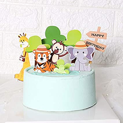 Astonishing Amazon Com Purearte Diy Happy Birthday Zoo Animals Birthday Cake Funny Birthday Cards Online Alyptdamsfinfo