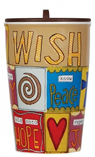 C.R. Gibson Double Wall Porcelain To-Go Coffee Cup, Wish List