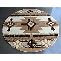 Champion Rugs Southwest Native American Indian Ivory Carpet Area Rug (7 Feet X 7 Feet Round)