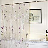 Adwaita Mildew Resistant Anti-Bacterial PEVA Shower Curtain Printed Purple Flower, 72x72 - Non Toxic, Eco-Friendly, No Chemical Odor, Rust Proof Grommets with 12 C Hooks