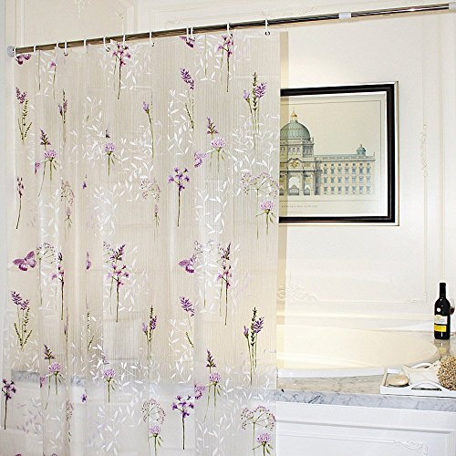 Adwaita Mildew Resistant Anti-Bacterial PEVA Shower Curtain Printed Purple Flower, 72x72 - Non Toxic, Eco-Friendly, No Chemical Odor, Rust Proof Grommets with 12 C Hooks by Adwaita