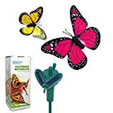 HQRP Pair of Solar Powered Flying Fluttering Butterflies Yellow and Pink Monarch for Garden Plants Flowers plus HQRP UV Chain / UV Health Meter (Toy)