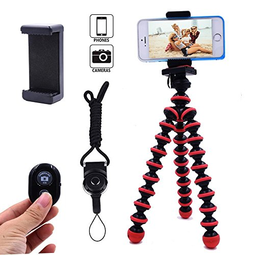 DAISEN Camera Tripod, Octopus Camera Holder and Phone Tripod for iphone/Universal Smartphone/Cell phone/Camera Arbitrary installed With Remote Control(Red)