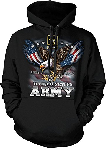 US ARMY HOODIE Since 1775 Eagle with American Flag Wings Sweatshirt, Black, L