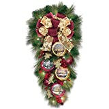 Thomas Kinkade Lighted Teardrop Wreath With Artwork Ornaments: Welcome Christmas by The Bradford Exchange