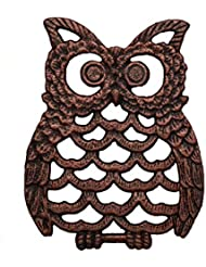 """Cast Iron Owl Trivet - Decorative Trivet For Kitchen Counter or Dining Table Vintage, Cooper, Artisan Design - 7.75X6"""" - With Rubber Pegs/Feet - Recycled Metal"""
