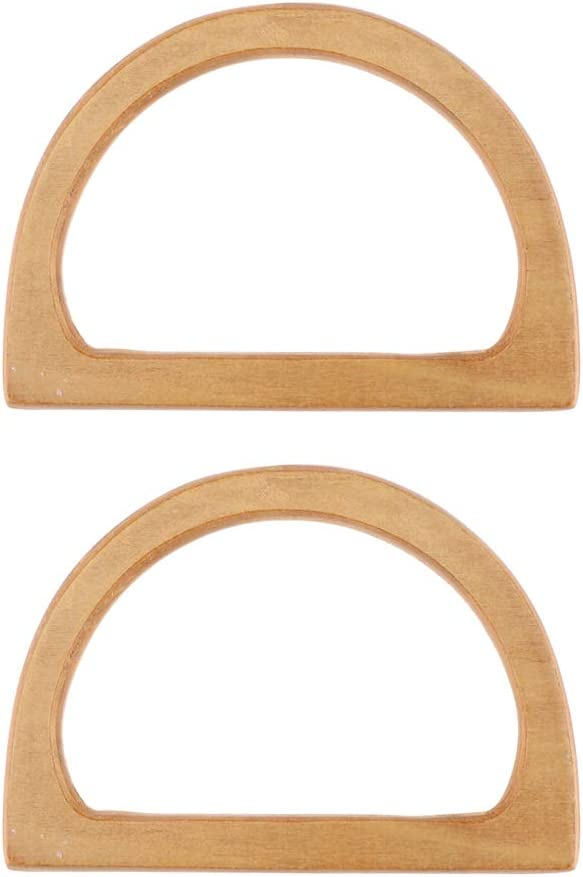 Brown 1 Pair of Solid Slippy Wooden Handles Replacement for Handmade Bag Handbags Wood Purse Handle