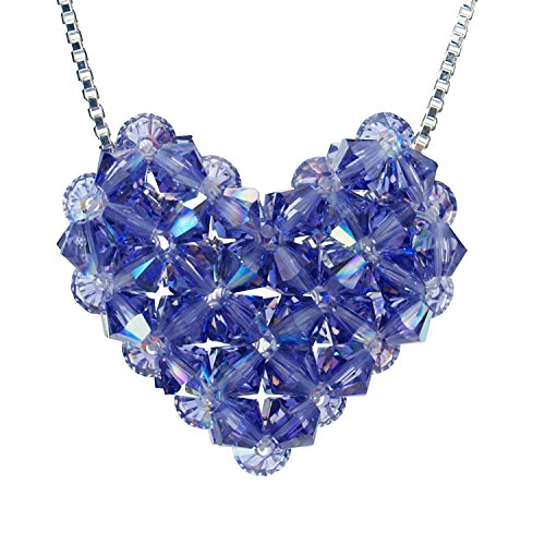 Swarovski Crystal Tanzanite Woven Puffy Heart Necklace with Stainless Steel chain Swarovski Crystal Puffy Heart Pendant