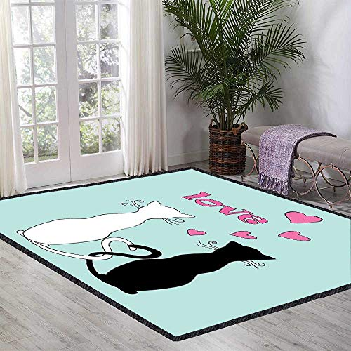 Cat Room Carpet Black and White Kitty Cat Couple with Tails Tangled and in Love with Valentines Hearts Kid Game Carpet 47.24 Inch x 59.05 Inch -