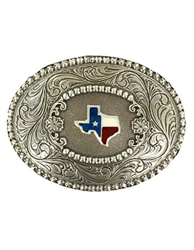 Nocona Men's Oval Filigree Texas Belt Buckle, Antique Silver, ()