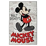 Ln 4'6 x 6'6 Kids Red Black Mickey Mouse Theme Area Rug Rectangle, Indoor White Disney Pattern Bedroom Carpet Cartoon Themed Mat Kid Bed Room Movie Television Character Modern Vintage, Polyester