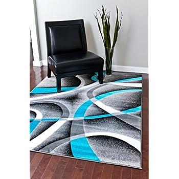 Amazon Com 2305 Turquoise White Swirls 5 2 X 7 2 Modern