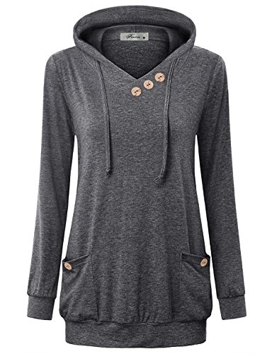 Lightweight Knit Activewear Zip (Finice Casual Shirts For Women, Juniors Fashion Jersey Clothing Vneck Long Sleeve Pullover Hooded Sweatshirt Plain Vintage Baggy Tunic Hoodie With Pockets Dark Grey XXL)