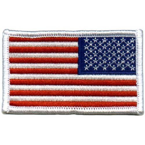 American US Flag REVERSED Patch White Border  by Army Univer