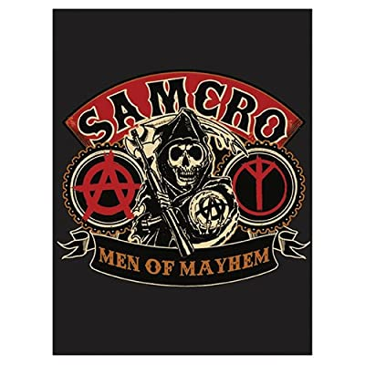 """SOA Sons of Anarchy Men of Mayhem Velour Perfect Soft Thick Microfiber Mink to Black Cast Aside Gritty Exterior Warm Light weight 60"""" X 80"""" Official Licensed Plush Blanket"""