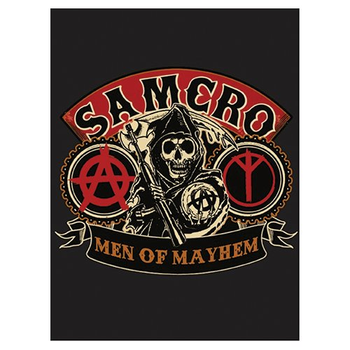 Soa Sons Of Anarchy Men Of Mayhem Velour Perfect Soft Thick Microfiber Mink To Black Cast Aside Gritty Exterior Warm Light Weight 60  X 80  Official Licensed Plush Blanket