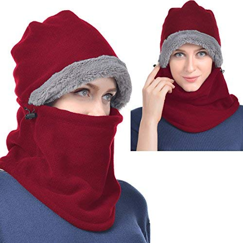 UShake Balaclava Fleece Hood for Men or Women, Heavy Fleece Unisex Balaclavas, Ski Face Mask, Winter Neck Warmer Protective Headgear Wind Resistant Cap for Snowboarding Cycling Dog Jogging (Burgundy)