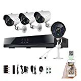 TECBOX 8CH Home Security DVR System 4 800+TVL Weatherproof Cameras Home Surveillance System Remote View iOS Android Device No Hard Drive