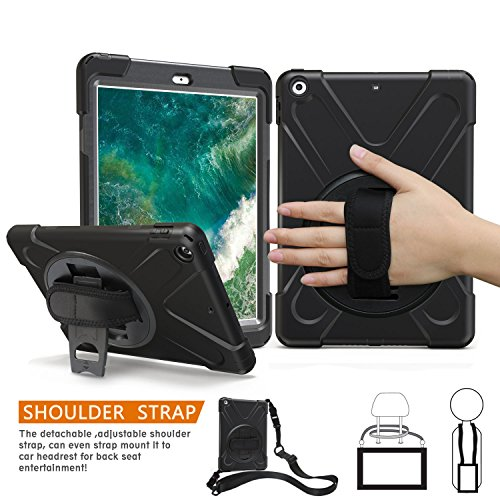 iPad 5th Generation Case, BRAECN 360 Degree Swivel Stand/ a Hand Strap/ a...