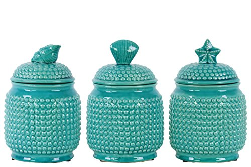 Urban Trends 3 Piece Ceramic Round Canister with Coastal Top Lid Pimpled, Gloss Turquoise