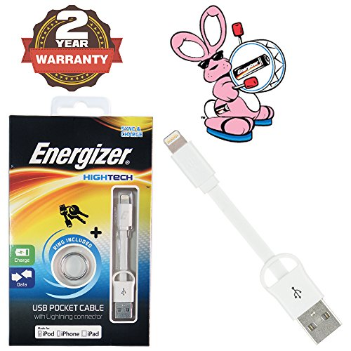 Energizer Hightech Durable Short 8CM Pocket MFI Certified Data Sync   Charge 8Pin Lightning USB Cable  Black