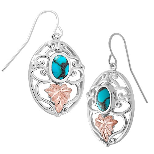 (Oval Turquoise with Scrollwork Earrings, Sterling Silver, 12k Green and Rose Gold Black Hills Gold)