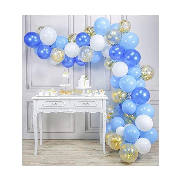 PartyWoo Ballon Bleu Blanc Or, 70 pcs 12 Pouces Ballon Bleu Marine, Ballons Bleus, Ballon Bleu Ciel, Ballon Bleu Roi, Ballon Blanc, Ballon Confettis Or pour Deco Fete Bleu, Petit Prince Anniversaire 1