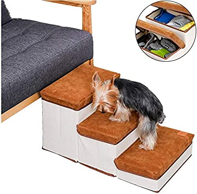 DZQH-Qin Lightweight Soft Portable Cat Dog 3 Steps Ramp Small Climb Pet Step Stairs Beige//3 Steps for High Beds and Couches//Machine Washable Cover