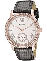 GUESS Womens U0642L3 Classic Grey Watch with Genuine Leather Strap