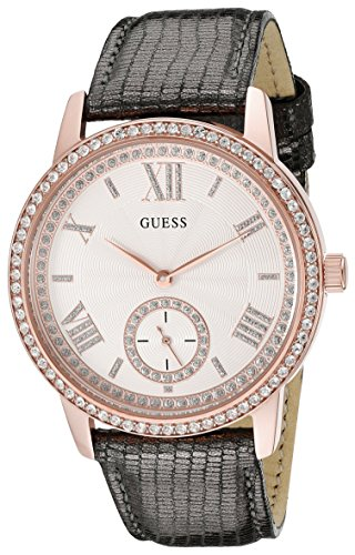 GUESS Women's U0642L3 Classic Grey Watch with Genuine Leather Strap