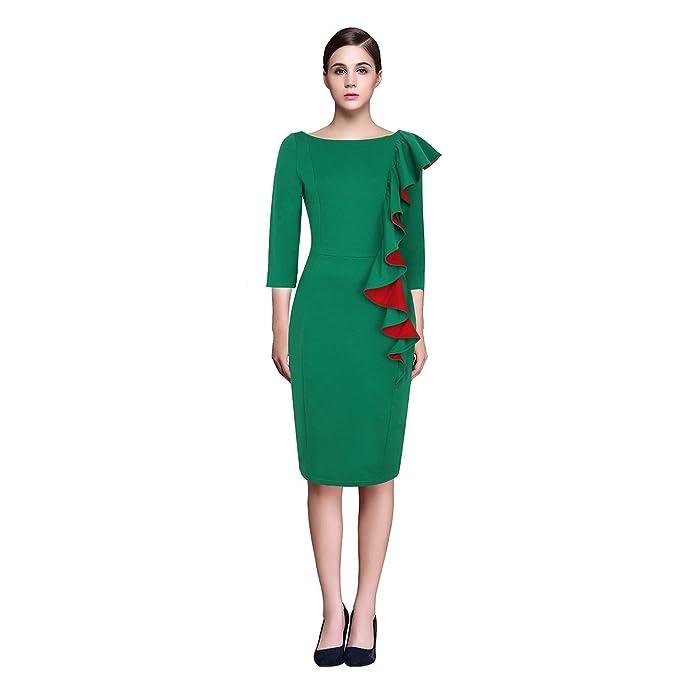 Las mujeres negocio de diseño de lápiz vestido oficina vestido volantes: Amazon.es: Ropa y accesorios