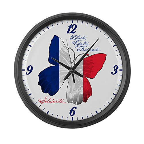 Large Wall Clock French Flag Butterfly Solidarite