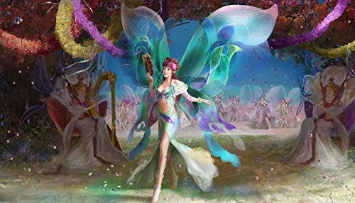 YYAYA.DS Fairies Wings Musical Instruments Flowers Holiday. - Art Print Silk Fabric Cloth Rolled Wall Poster Print 42x24 Inches