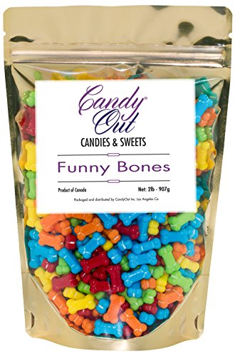 CandyOut Assorted Colors Funny Bones 2 Pounds in Sealed Stand Up Bag