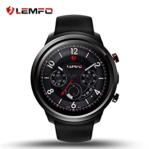 LEMFO LEF2 Android 5.1 Smart Watch Two Modes RAM 512MB ROM 8GB Bluetooth Smartwatch Support Heart Rate Monitor GPS Wifi SIM Card for Android and iOS (Black)