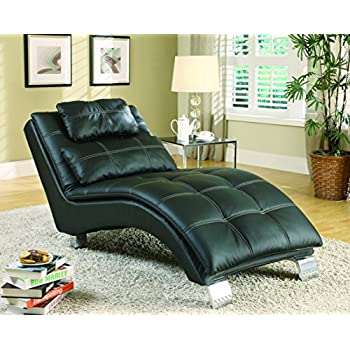 Coaster Contemporary Black Faux Leather Living Room Chaise