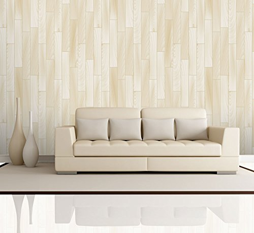Vertical Cream and Soft Yellow Wood Textured Paneling Wall Mural Removable Wallpaper