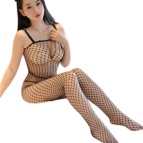 HOT ! Sexy Strap Lingerie Fishnet Pajama Bodystocking Perspective Crotchless Bodysuit for Women by Kstare (Black)