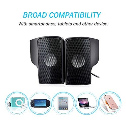 ELENKER Portable Mini Clip-On USB Powered Stereo Speaker Soundbar for Laptop PC Desktop Tablet