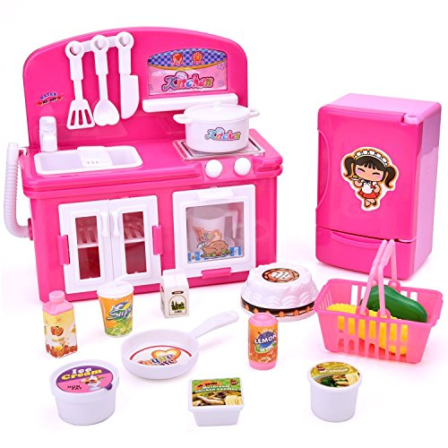 Girl's Kitchen Toy Accessories Playset Mini Appliances Pretend Play Kitchen Set For Toddlers Includes Refrigerator, Stove, Oven Cooker and Food Batteries Included,Lights And Sound For Kids Childrens Toy Stove