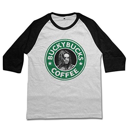 (mamisari Buckybucks Coffee Shirt Tshirt Raglan 3/4 Sleeve Baseball Tee T-Shirts (Medium, White))